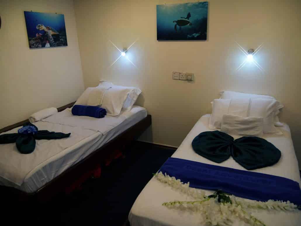 cabine du bateau en croisière plongée avec OK Maldives