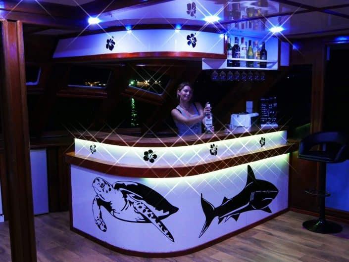 Bar et salon en croisière plongée avec OK Maldives